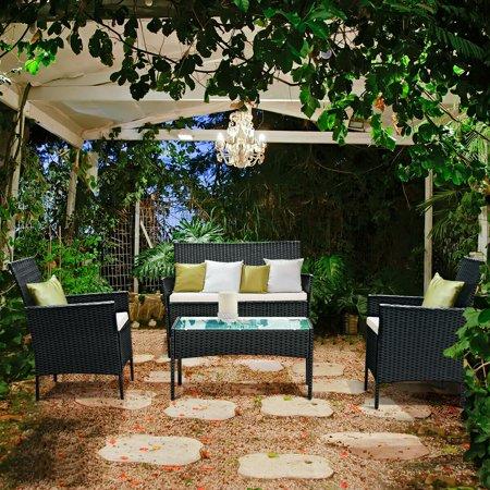 4pcs Patio Rattan Sofa Set Loveseat Cushioned Furniture Outdoor Garden - image 6 of 9