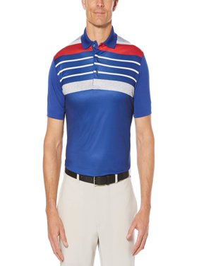 Big Men's Performance Short Sleeve Stripe Golf Polo Shirt