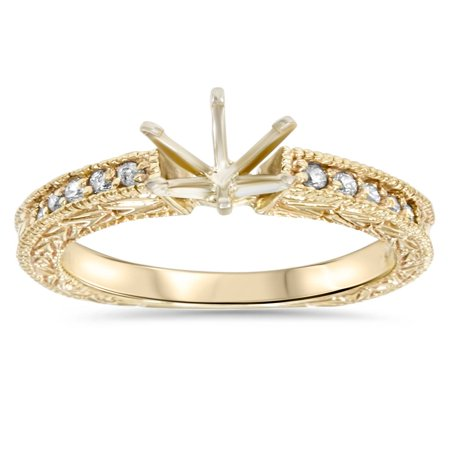 Gold 1/4ct Diamond Engagement Semi Mount Ring -