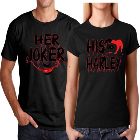 Her Joker His Harley FACE Halloween Couple Matching Funny Cute T-ShirtsHer Joker-Black S](Tomorrow Is Halloween Funny)