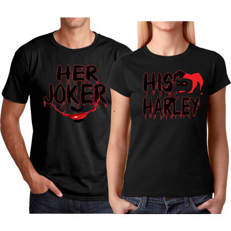 Her Joker His Harley FACE Halloween Couple Matching Funny Cute T-ShirtsHer Joker-Black S - Halloween Harvey