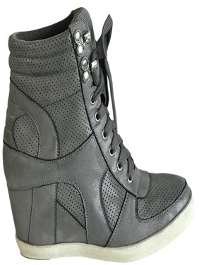 6f7abb37e29 Product Image Dakota-08 Womens Hidden Wedge Low Mid Heel Ankle Boots  Sneakers Zip up Lace Up