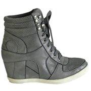 f96558ad570 Dakota-08 Womens Hidden Wedge Low Mid Heel Ankle Boots Sneakers Zip up Lace  Up
