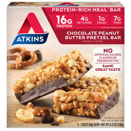 Protein Meal Bar (Atkins Chocolate Peanut Butter Pretzel Bar, 1.7oz, 5-pack (Meal Replacement) )