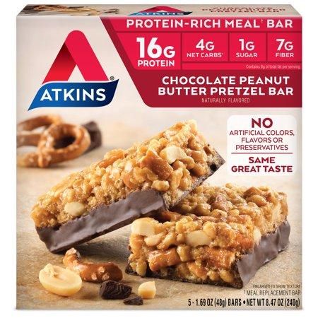 Atkins Chocolate Peanut Butter Pretzel Bar, 1.69oz, 5-pack (Meal (100 Bar Meal Replacement Food)