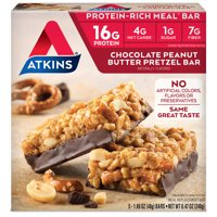 Atkins Chocolate PB Pretzel Bar, 1.7oz, 5-pack (Meal Replacement)