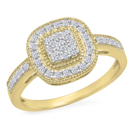 Dazzlingrock Collection 0.45 Carat (ctw) 14K Round Cut White Diamond Cluster Bridals Engagement Ring 1/2, Yellow Gold, Size 5.5