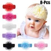 Coxeer 8PCS Lace Flower Baby Headband Solid Color Baby Hairband Infant Headwrap for Baby Girls Toddler