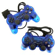 2 Blue Wired Replacement Controller For Playstation PS1 PS2 Black by TekDeals