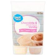 Great Value Chocolate Vanilla Ice Cream Cups 36 Oz 12 Count