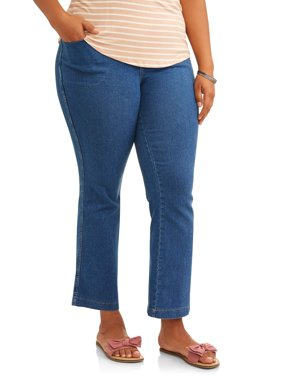 Women's Plus-Size 4-Pocket Stretch Boot cut Pull-On Denim Jeans, Available in Regular and Petite Lengths