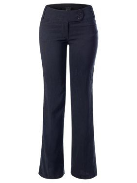 Made by Olivia Women's High Waist Slim Boot-Cut Stretch Dress Pants Trousers Black L