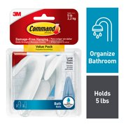 Command Towel Hooks, Value Pack, Frosted, 3 Large Hooks, 3 Large Water-Resistant Strips/Pack