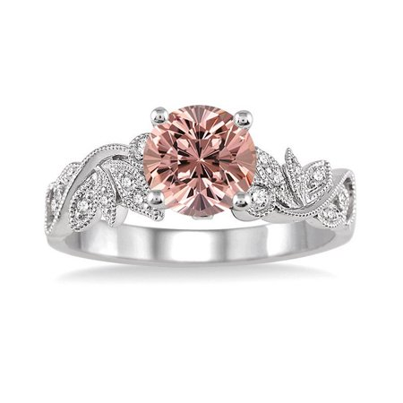 1.25 Carat Round cut Morganite and Diamond Flower leaf shape Engagement Ring for Women in 10k White Gold ()