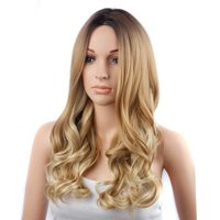 """Amazing Star Full Cap Wig Brazilian Synthetic Wavy Hair Lace Wig 150% Density Lemi Color T4/27/613 Ombre Color Wigs for Women, 24"""""""