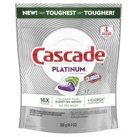 Cascade Platinum ActionPacs Dishwasher Detergent with the Power of Clorox, Fresh, 17 count