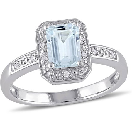 1 Carat T.G.W. Emerald-Cut Aquamarine and Diamond-Accent Sterling Silver Halo Ring