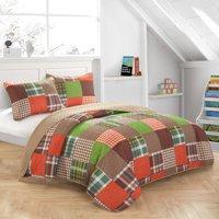 Mainstays Kids Lime Plaid Patchwork Quilt Set