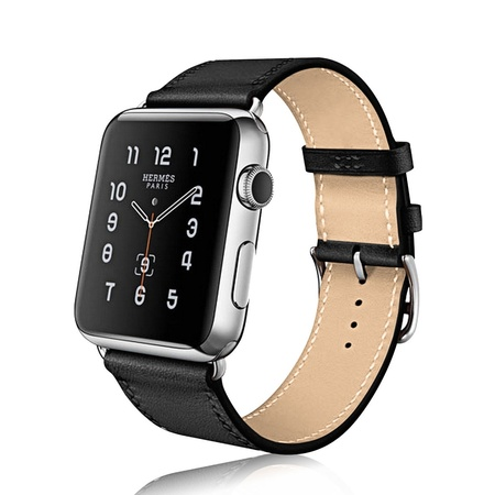 Apple watch band, Mignova Genuine Leather iwatch strap Replacement Band with Stainless Metal Clasp for apple watch Series 3, Series 2, Series 1, Sport, Edition (42mm - Black) (Banks Leather)