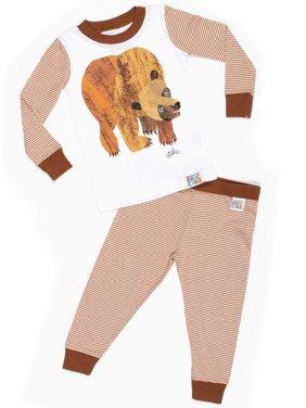 Baby Toddler Boy or Girl Unisex Brown Bear Tight Fit Pajamas 2pc Set