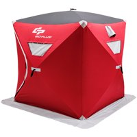 Goplus Portable Pop-up 2-person Ice Shelter Fishing Tent Shanty w/ Bag Ice Anchors Red
