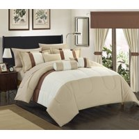 Chic Home 20-Piece Whitehall Complete-Pieced color block bedding, sheets, window panel collection Queen Bed In a Bag Comforter Set Beige Sheets Included