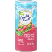 (6 Pack) Crystal Light Raspberry Green Tea Drink Drink Mix, 5 count Canister
