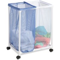 Honey Can Do Rolling Laundry Sorter with 2 Nylon Mesh Bags, White/Blue
