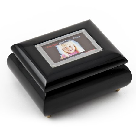 """3"""" X 2"""" Wallet Size Black Lacquer Photo Frame Music Box With New Pop-Out Lens System - Yankee Doodle"""