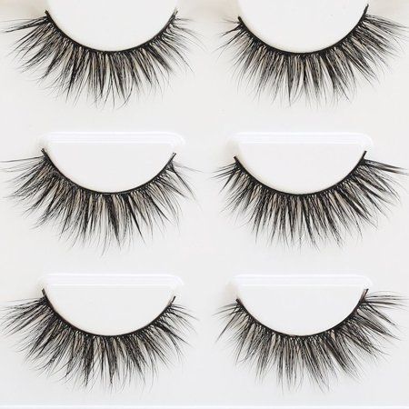 3 Pair 3D Natural Bushy Cross False Eyelashes Mink Hair Eye Lashes Black](Cheap Eyelashes)