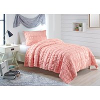 Better Homes and Garden Blush Ruffle Quilt Set with Tote TW/TXL