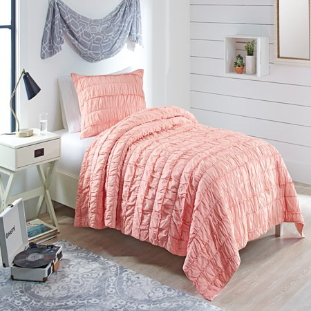 - Better Homes & Garden Blush Ruffle T/TXL Quilt Set with Tote, 3 Piece