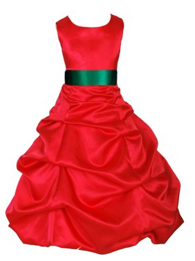 Ekidsbridal Formal Satin Pick-up Red Flower Girl Dress Christmas Bridesmaid Wedding Pageant Toddler Recital Easter Holiday Communion Birthday Baptism Occasions Size 2 4 6 8 10 12 14 16 806s