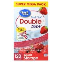 Great Value Double Zipper Storage Bags, Quart, 120 Count