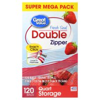 Great Value Double Zipper Bags, Super Mega Pack, Quart, 120 count