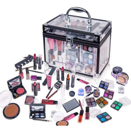 SHANY Carry All Trunk Makeup Set (Eye shadow palette/Blushes/Powder/Nail Polish and more) - Dark Shadows Halloween Makeup