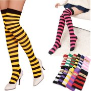 23f2e930b Fashion Women Girl Plus Size Striped Thigh High Socks Sheer Over Knee  Stockings