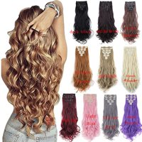 "FLORATA 24"" Curly Wave Clips in Synthetic Hair Extensions Hair pieces for Women double weft 8 piece full head"