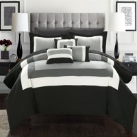 10-Piece Luxury Comforter Set in Gold Colorblock, Choose Your Size and Color