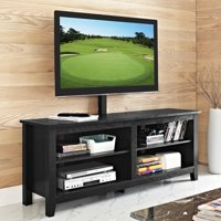 """58"""" Wood Media TV Stand Console with Mount, Black"""