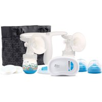 The First Years Quiet Expressions™ Double Electric Breast Pump | Quiet Operation for Discreet Pumping | 8 Adjustable Suction Levels | Includes 2 Breastflow Bottles and Carrying Tote