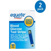 (2 Pack) Equate Blood Glucose Test Strips, 50 Ct