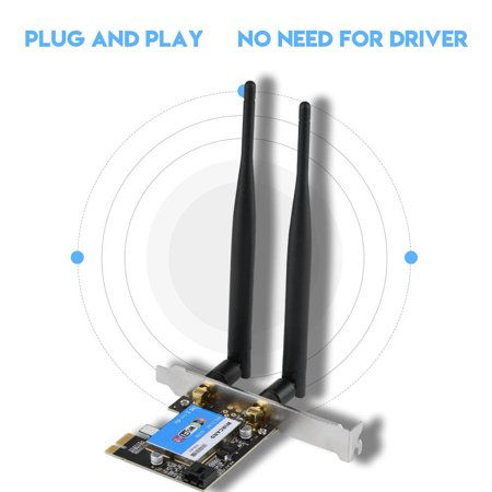 Pci Interface Card - WALFRONT PCIE Network Card 433Mbps Dual Band 2.4G/5G + Bluetooth 4.0 Bluetooth Network Card for Desktop, Dual Band PCIE Wireless Card, PCIE Expansion Card