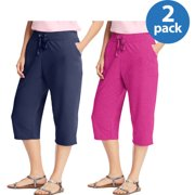 4ef147ee188 Just My Size Women s Plus-Size French Terry Pocket Capri 2-pack