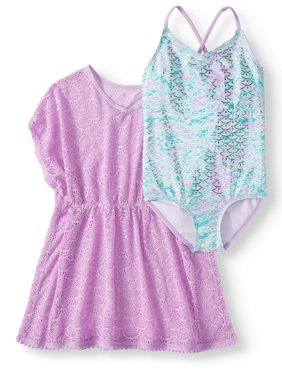 Crossback One-Piece Swimsuit and Kaftan Coverup, 2-Piece Set (Little Girls, Big Girls & Big Girls Plus)