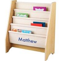 KidKraft - Personalized Natural Sling Bookshelf, Blue Block Font Boy's Name