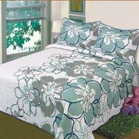Fancy Linen 3pc California King Reversible Bedspread Bed Cover White Grey Green Floral New