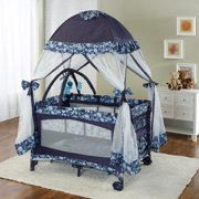 Big Oshi Portable Playard Deluxe Bundle - Nursery Center With Canopy Net Topper - Medium Size - Lightweight, Compact Design, Includes Carry Bag - Perfect for Indoor or Outdoor Backyard Use, Navy