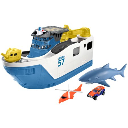 Wooden Matchbox (Matchbox Shark Ship with Two Water-Safe Cars)