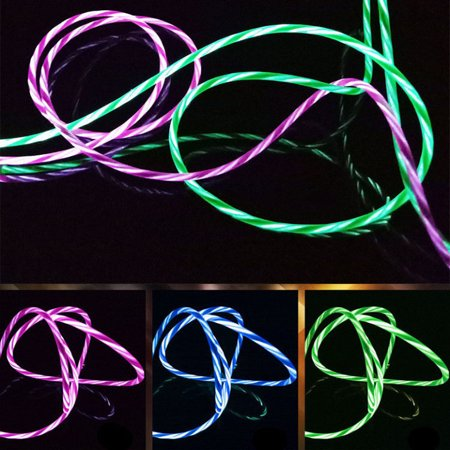 Flowing Visible LED Light UP Micro USB Data Sync Charger Cable For Smart